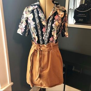 Forever 21 paper bag skirt with belt